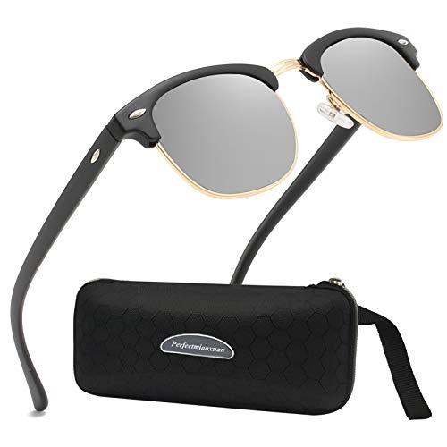 Perfectmiaoxuan Gafas de sol polarizadas Hombre Mujere Retro/Aire libre Deportes Golf Ciclismo Pesca Senderismo 100% protección UVA gafas unisex golf conducción Gafas gafas de sol (B/silver)