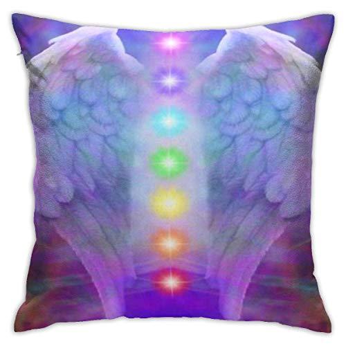 DRXX Fundas de Almohada Decorativas Simples, Funda de cojín de 45x45 cm, Cremallera Invisible, alas de ángel Reiki y Siete Chakras en la sanación del Alma Colorida Divina