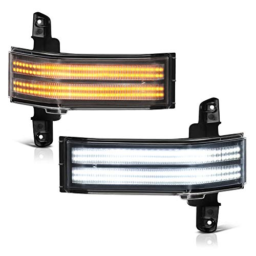 [Sequential Turn Signal] VIPMOTOZ Switchback Full LED Black Side Marker Light Lamp Assembly Replacement Pair For 2014-2018 Chevy Silverado GMC Sierra 1500 2500HD 3500HD Pickup Truck Towing Mirror