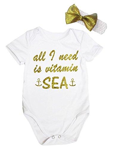 Petitebelle alles wat ik nodig heb is vitamine zee wit Bodysuit Romper Set Nb-18m