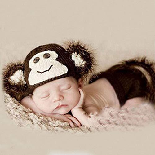 ENCOCO - Costume da Scimmia per Neonato, Lavorato a Maglia, con Cappellino