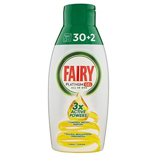Fairy Platinum Gel Waschmittel Geschirrspüler All in 1, Zitrone, 650 ml, 32 Waschgänge