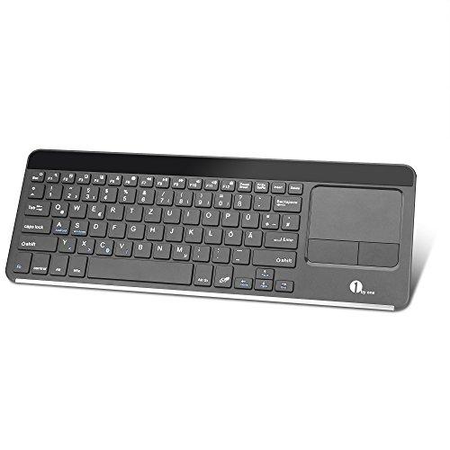 1byone drahtlose Bluetooth QWERTZ Deutsche Tastatur und Multi Touchpad, geeignet für Windows, Linux, Android OS Tabs und Smartphones, Batteriebetrieben