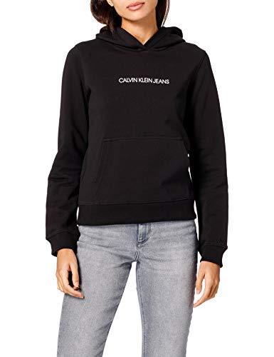 Calvin Klein Jeans Damen Shrunken INSTITUTIONAL Hoodie Pullover, Ck Schwarz, 38