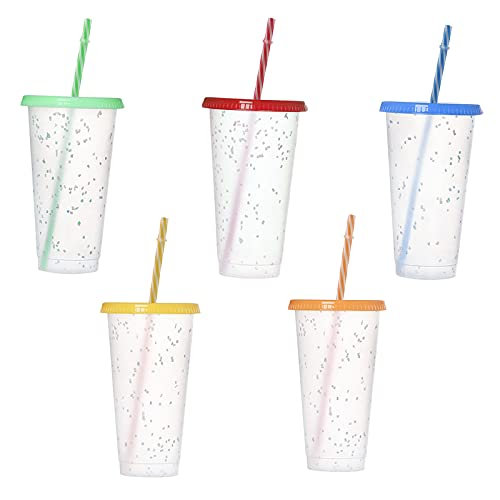 Vasos Plastico de Colores 5pcs Vaso de Plástico de PP Vasos Reutilizables en 5Colores Vasos plástico Reutilizables con Tapa y Pajita para Fiesta/Parrilla/Cumpleaños/Viajes Familiares
