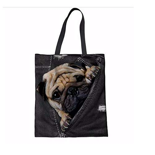 ZXXFR Tote Bag Leuke 3D Animal Nep Denim Knuffel Hond/Labrador Print Recycling Winkelen Linnen Tas Casual Beach Bag Herbruikbare Eco Bag