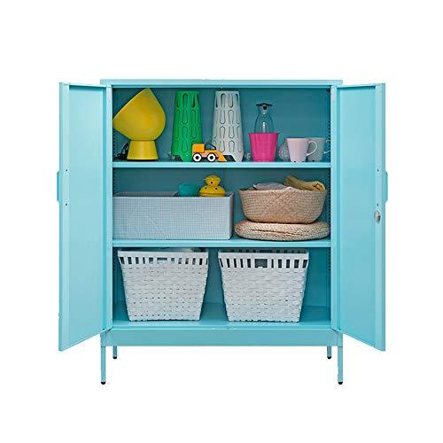 NBNBN Massives Holz Sideboard Wohnzimmer Esszimmer Küche Büffet Stahl Akzent Eingang Barschrank Lagerung Eingang Esstisch Multi Compartment Display (Farbe : Blue, Size : 80x40x101.5cm)