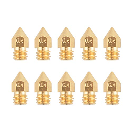 10pcs 3D Printer 0.4mm Extruder Brass Nozzle Print Head M6 Screw Thread for Makerbot Reprap MK8 1.75mm ABS PLA Printer