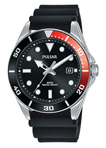 Seiko UK Limited - EU Heren Analoog Japanse Quartz Pulsar Diver-Geïnspireerd Jurk Horloge met Siliconen Band met Siliconen Band PG8297X1