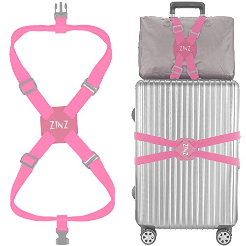 Luggage Strap, ZINZ High Elastic Suitcase Adjustable Belt Bag Bungees with Buckles and More Applications (Pink-001)