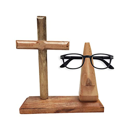 Whopper Dekorativer hölzerner Nasenförmiger Brillenhalter und Wandkreuz Heimdekoration Display Ständer Büro Schreibtisch Dekoration