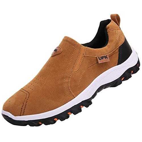 zpllsbratos Zapatillas sin Cordones Hombre Casual Zapatos Mocasín Zapatos para Caminar Senderismo 39-48(Marrón,41)