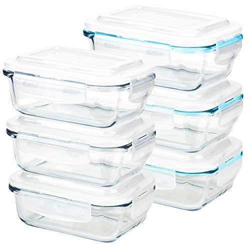 GRIZZLY Contenedores de Almacenamiento de Vidrio para Alimentos - 6 x 370 ml rectangular