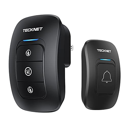 Wireless Doorbell, TeckNet Waterproof Wireless Door Bell Chime Kit with LED Light 1 Receiver and 1 Push Button Operating at 1300 Foot Range with 38 Chimes