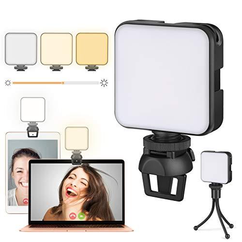 Videokonferenz Beleuchtung Licht mit Clip und Stativ, Ringlicht für Laptop, Webcam Licht für Videokonferenzen, Zoom Meetings, Fernarbeit, Make up, Streaming, Vlogging(Dimmbar und Eingebaute Batterie)