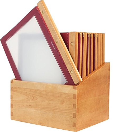 Securit Box con 20 Menu Wood A4 - Struttura in Legno e Bordi Rifiniti color Bordeaux, inclusi 2 inserti