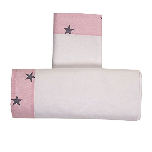 Draps Berceau Lella étoile blanc/rose