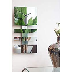 Bold Stripes Wall Clock Glass and Mirror Rectangle Silver Battery Operated Rectangular