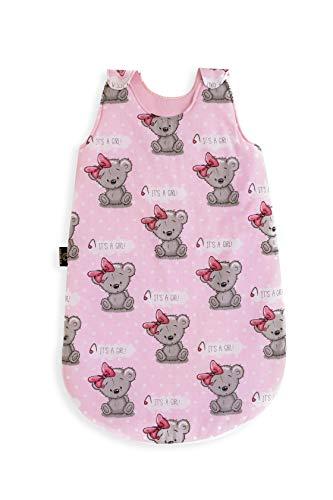 Eqsthetic Baby Schlafsack, Ganzjahresschlafsack aus 100{e43117706368f0d6b735b7327f5f5153f12b8556c5424fc2034a1a4fae5fc8e2} Baumwolle, Der Schlafsack Baby ist Antiallergisch, Größe 80, 6-18 Monate, Standard 100 by OEKO-TEX, Made in EU, Design: Mädchen