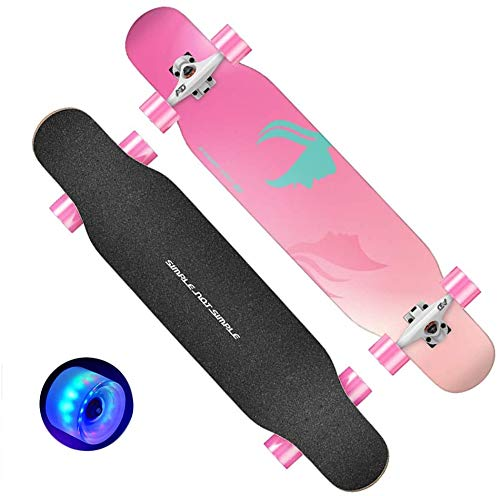 Baibao Skateboards Anfänger Skateboarddecks Complet Anti-Rutsch-Mute LED-Rad-Funboard for Teen Mädchen Junge Erwachsene und Profis (Color : A)