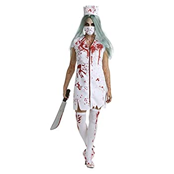 Womens Zombie Nurse Costume Adult Bloody Sexy Horror Quality Dress Up for Women - Medium