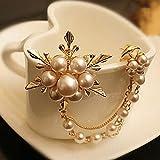 SHUHUAN Broche de Cadena Larga Pin Perla Copo de Nieve Broche Damas Fiesta Accesorios de joyería de Boda