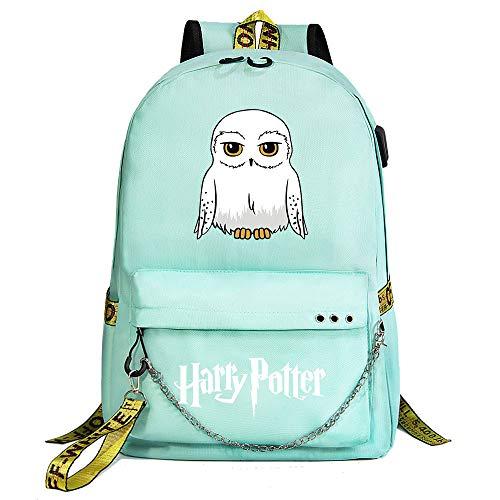 Zaino Hogwarts istituto ,Zaino Harry Moda ,potter Zaino da viaggio per il tempo liberoCon porta USB e jack per cuffie verde stile-12
