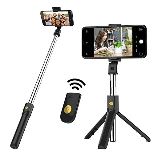 Bluetooth tripod selfie stick, expandable Bluetooth selfie stick with wireless remote control, compatible with iPhone 11/12PRO/XS Max/XS/XR/X/8P/7P/6sP/6s, Galaxy S20/S10/S9/S8/Note20/ Note 10/.