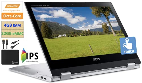 """2021 Newest Acer X360 Chromebook Spin 2-in-1 Convertible Laptop Student Business, MediaTek MT8183C 8-Core Processor,11.6"""" HD Touch IPS, 4GB RAM, 32GB eMMC,Wi-Fi 5,Bluetooth 5,Chrome OS+ Marxsol Cables"""