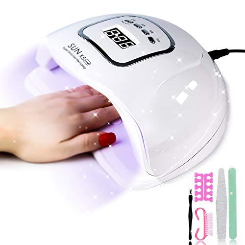 J TOHLO 150W Lámpara LED UV Secador de Uñas, con juegos de arte de uñas, lámpara de curado de manicura con sensor automático para uñas y uñas de los pies para Todos Gel Regalos para enamorados &ma