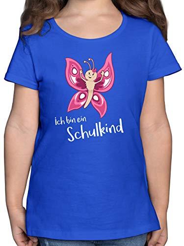Einschulung und Schulanfang - Ich Bin EIN Schulkind Schmetterling - 140 (9/11 Jahre) - Royalblau - Schmetterling Shirt - F131K - Mädchen Kinder T-Shirt