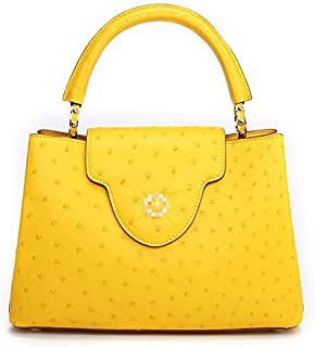 The New South African Ostrich Leather Handbags Evening Bags Female Casual Fashion Ladies Handbag (Color : Yellow)