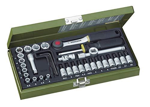 """PROXXON Steckschlüsselsatz, Feinmechaniker-Satz mit 1/4""""-Umschaltratsche sowie Schraubendrehergriff, 36-teiliges Werkzeug-Set mit Stahlkasten, 23080"""