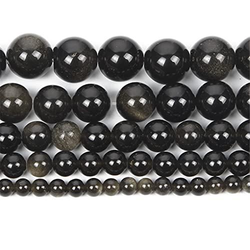 Cuentas de piedra natural de cuarzo mate Amazonita redondas sueltas esmeriladas para hacer joyas DIY pulseras 4 6 8 12 mm Obsidiana oro 12 mm aproximadamente 30 piezas