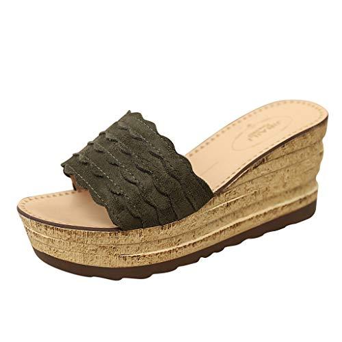 Chanclas Mujer Sandalias Mujer Verano 2019 Zapatos de Plataforma Cuña Playa Zapatillas Planas Sandalias de Punta Abierta Casual Fiesta Roman Tacones Altos Sandalias vpass
