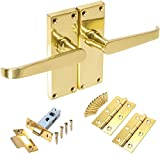Polished Brass Straight Interior Door Handle Set Backplate 120mm x 40mm - Internal Victorian Latch Kit with Tubular Latch and Hinges