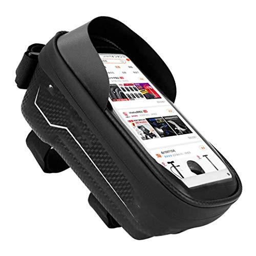 ZBQLKM Bolso de Montaje del teléfono de la Bicicleta, Bolsa de Manillar con Marco de Bicicleta Impermeable, con Pantalla táctil Impermeable Caja de teléfono de Silla de Montar Equipo de Montar