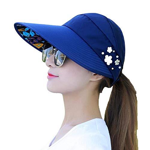 JIDAN Hut Damen Sommernew Summer Beach Frauen Sonnenhüte Uv-Schutz Perle Packbare Sonnenblende Hut Mit Großen Köpfen Breite Krempe Weibliche Kappe Heiß-Blau