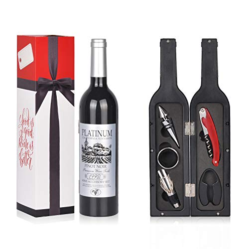 Wine Accessories Gift Set - 5 Pcs Deluxe Wine Corkscrew Opener Sets Bottle Shape in Elegant Gift Box, Great Wine Gifts Idea for Wine Lovers, Friends, Anniversary