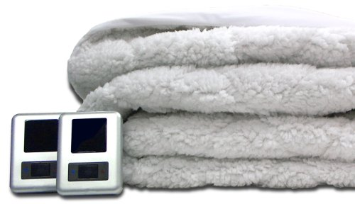 Biddeford 5302-9051128-100 Sherpa Quilted Skirt Electric Heated Mattress Pad, Queen, White