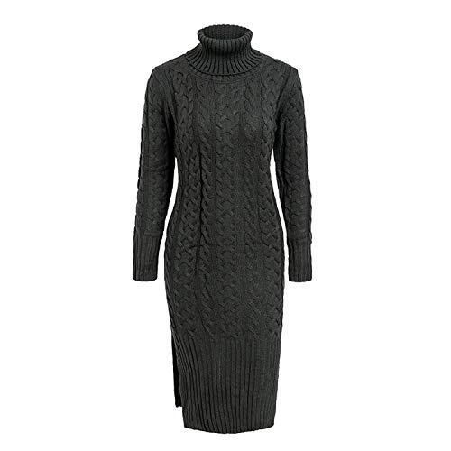 Groene Plaid Side Split Warm Lange Mouw Vrouwen Jurk Coltrui Herfst Winter Sweater Jurk