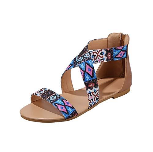 Damskie płaskie sandały z odkrytymi palcami Na co dzień damskie wsuwane buty Damskie płaskie sandały Wygodne buty do chodzenia (Color : Brown, Size : EU:37/UK:4.5/US:6)