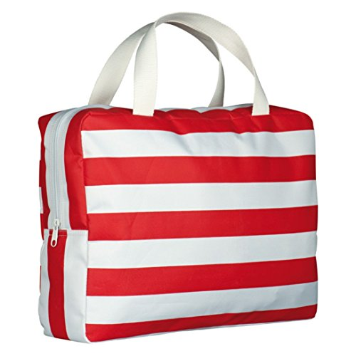 Rot Weiss gestreifte Strandtasche Beachbag Shopper aus Mikrofaser mit Reissverschluss