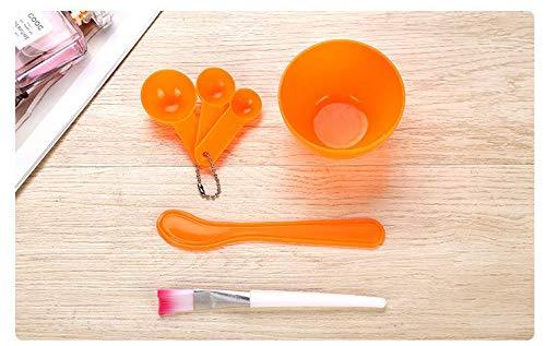 XiZiMi Ensemble de bol de mélange de masque facial 4 en 1 outil de masque facial en plastique avec bol de masque facial pour le mélange de masque de modelage Clay Diy cuillère de jauge de brosse de