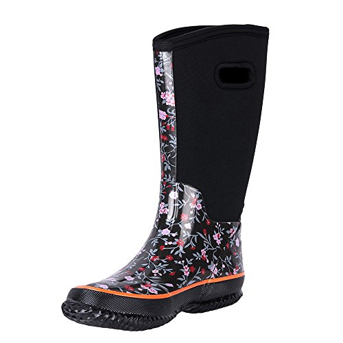 WTW Women's Neoprene Rubber Rain Snow Boots for Ladies,Winter Warm Waterproof Insulated Barn Boots(9B(M) US,Floret2)