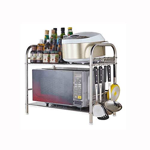 QARYYQ Estante de cocina de una sola capa de acero inoxidable para microondas, estante de almacenamiento de cocina, estante de almacenamiento para encimera (tamaño: 60 x 36 x 55 cm)