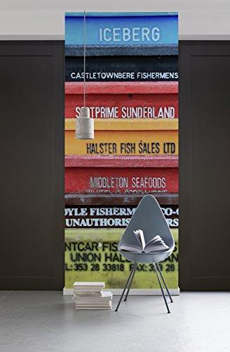 Komar - fleece fotobehang CARGO - 100 x 280 cm - behang, muur decoratie, schepen, vrachtschepen, collage, land - 159-DV1