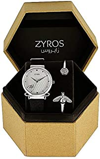 ZYROS LEATHER LADIES WATCH BLACK COLOR STRAP AND SILVER COLOR DIAL WITH BANGLE