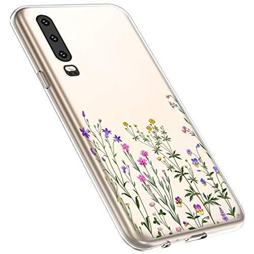 MoreChioce kompatibel mit Huawei P30 Hülle,Huawei P30 Handyhülle Blume,Ultra Dünn Transparent Weiche Silikon Schutzhülle Clear Crystal Rückschale Tasche Defender Bumper,Blumenzweig #14