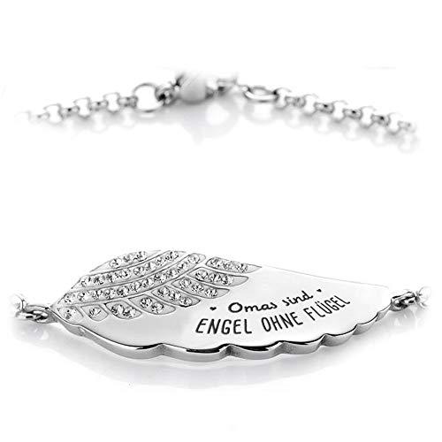 Himmelsflüsterer - Damen Armband mit Gravur und Familien- und Freunde-Spruch | Freundschaftsarmband | Silber - Omas sind Engel ohne Flügel